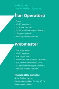 Kadıköydeki reklam ajansına operatör ve webmaster