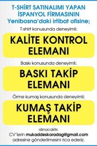 Kalite Kontrol Elemanı iş ilanları, Baskı Takip Elemanı iş ilanları, Kumaş Takip Elemanı iş ilanları