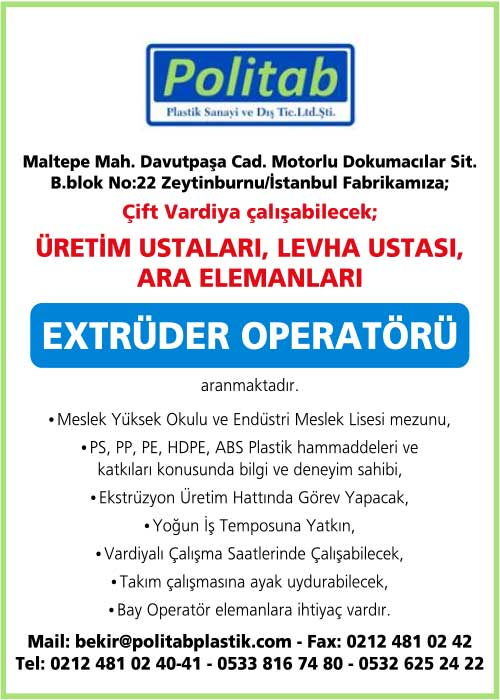 extrüder operatörü aranıyor, extrüder operatörü iş ilanları, extrüder operatörü arayan fabrikalar