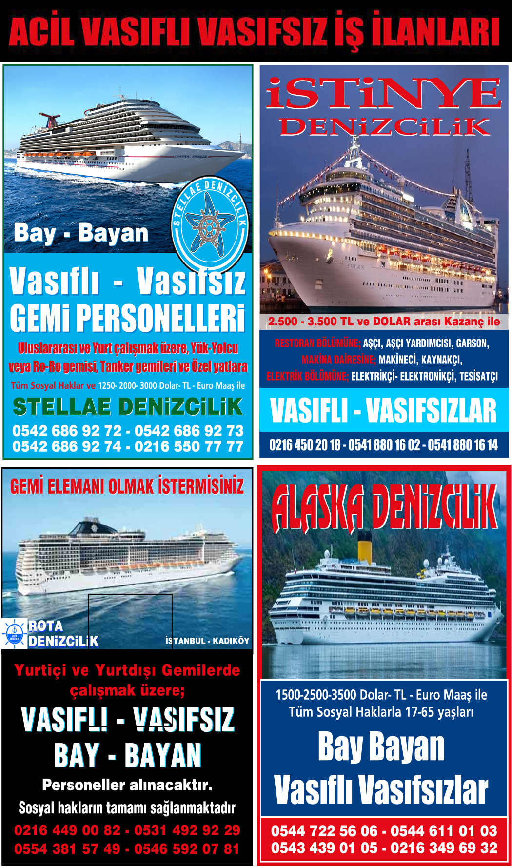 Hürriyet seri ilan sayfaları, iş ve eleman ilanları