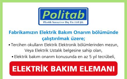 Elektrik Bakım Elemanı İş İlanı